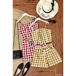Set áo croptop kẻ ô 2 dây và quần sooc búi nơ
