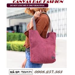 Túi xách tay nữ vải canvas_TXV171