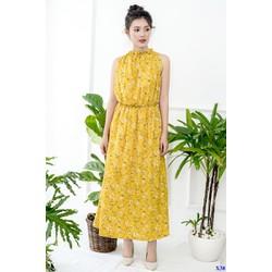 Đầm Maxi Lụa Hoa Cổ Yếm Eo Thun Dễ Thương