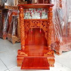 bàn thờ thần tài ông địa gỗ xoan ngang 42 quỳ trụ điện tử ngang  42 cm