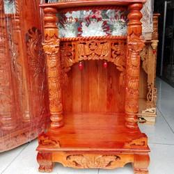 bàn thờ thần tài ông địa gỗ xoan ngang 56cm quỳ trụ điện tử