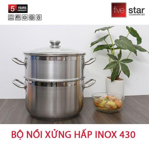 Bộ Nồi Xửng Hấp Inox 430 Fivestar 30cm Dùng Bếp Từ Nắp Kính