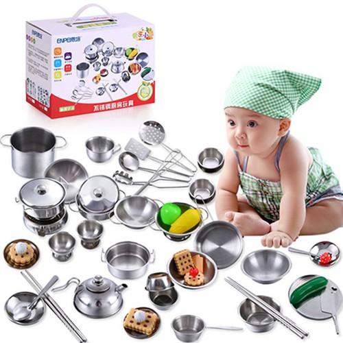 Bộ đồ chơi nấu ăn inox 40 món - Bộ đồ chơi nhà bếp
