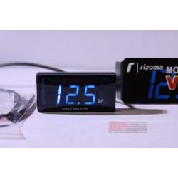 Đồng hồ LED Mini đo điện bình màu xanh dương gắn tay lái xe máy