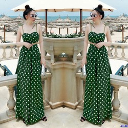 Set Chấm Bi Áo Hai Dây Cúp Ngực Phối Váy Dài Xinh Xắn