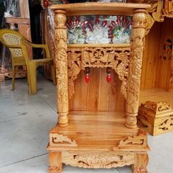 bàn thờ thần tài ông địa gỗ xoan quỳ trụ điện tử ngang 42 cm