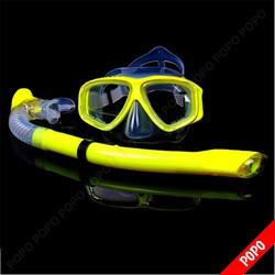 Bộ kính lặn Ống thở, mắt KÍNH CƯỜNG LỰC, ống thở ngăn nước-Yellow