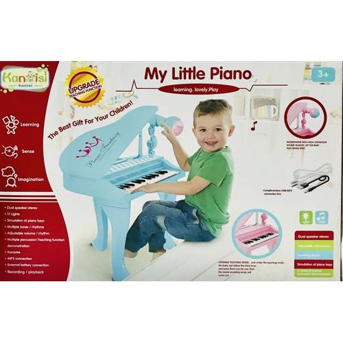 Đồ chơi đàn piano màu xanh cho bé có micro