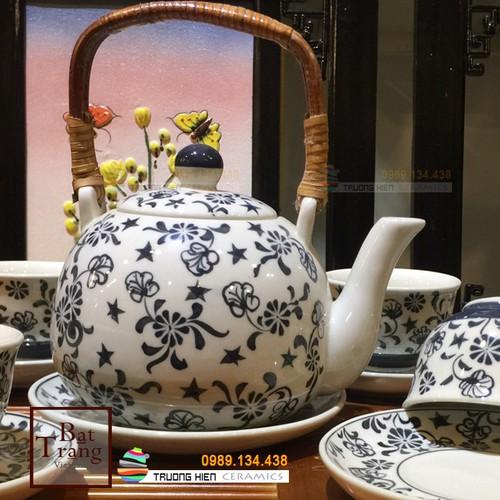 Bộ trà sứ bát tràng vẽ hoa dáng nồi quai mây cỡ đại