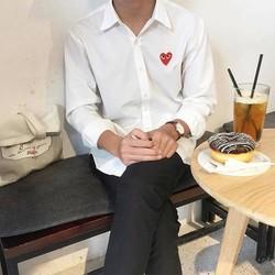 Shirt CDG - Áo sơ mi trắng CDG tim đỏ