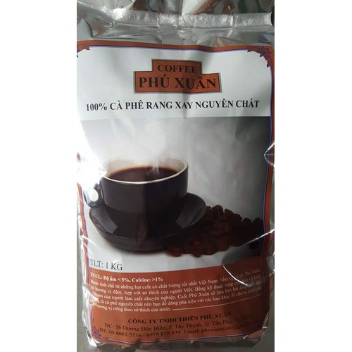 Cà phê robusta rang mộc- 1 kg hạt - phú xuân