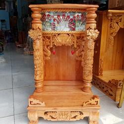 bàn thờ thần tài ông địa gỗ xoan quỳ trụ điện tử ngang 48cm