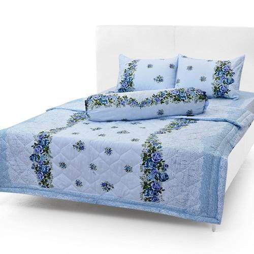Bộ drap cotton thắng lợi  kèm mền chần gòn /5 món /chuản logo trên vải