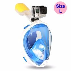 Mặt nạ lặn Full Face Size L gồm ống thở gắn được GOPRO, SJCAM-Blue