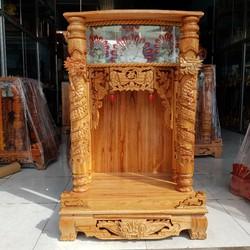 bàn thờ thần tài ông địa gỗ xoan quỳ trụ điện tử ngang 68 cm