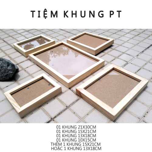Combo 5 khung ảnh trang trí - khung hình gỗ thông mặt kính - cb2