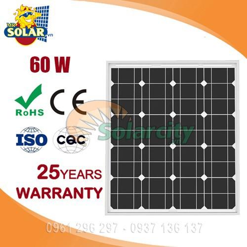 Tấm pin mặt trời 60W mono Solarcity hiệu suất cao