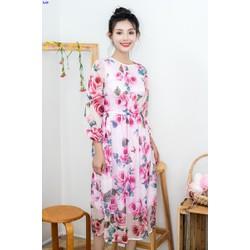 Đầm Xòe Họa Tiết Hoa Hồng Tay Dài Tuyệt Đẹp
