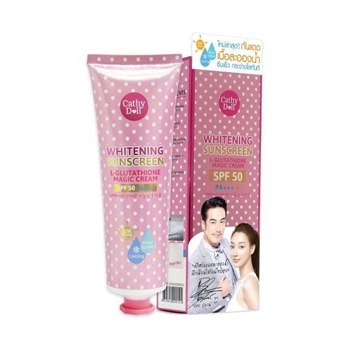Kem chống nắng trắng da whitening sunscreen l-glutathione magic cream cathy doll 138ml