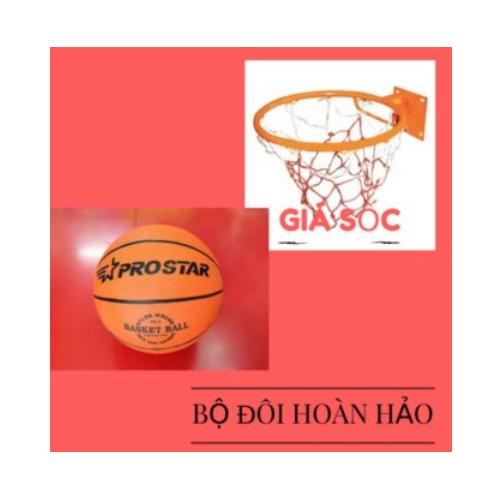 Combo lưới vành 40cm và bóng rổ số 5 - kèm đinh vích, kim bơm, lưới đựng trái bóng