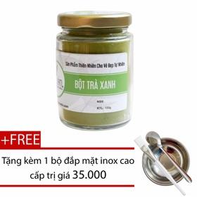 Bột trà xanh nguyên chất trị mụn 100gr + Tặng bộ đắp mặt inox cao cấp - btraxanhtrịmun100g