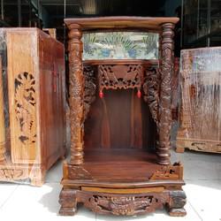 bàn thờ thần tài ông địa gỗ muồng đen quỳ trụ điện tử ngang 60 cm