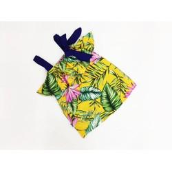 Đầm 2 dây hoạ tiết mùa hè lá thơm dừa