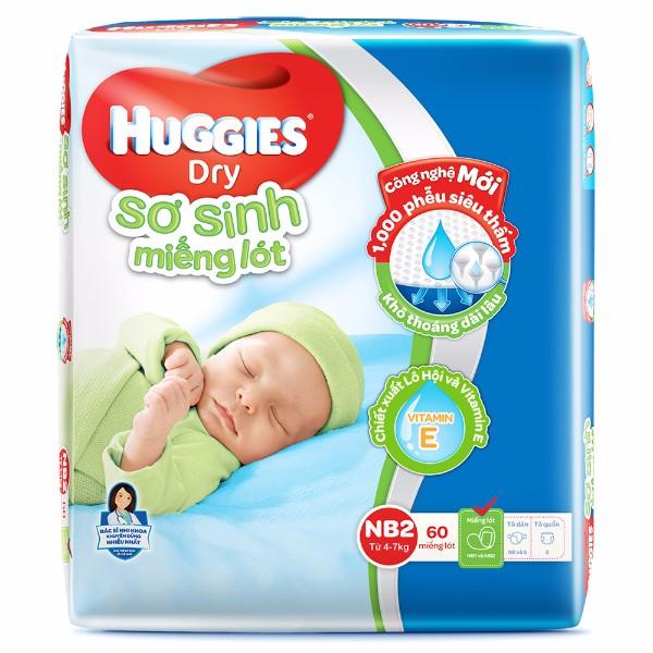 Miếng Lót Sơ Sinh Huggies Dry Newborn 2  60