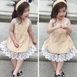 Váy caro ren tặng kèm turban cho bé từ 8kg - 25kg