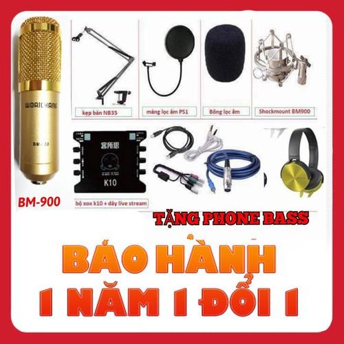 Combo Mic Thu Âm Bm900 XOX K10 full phụ kiện Tai Nghe SONY