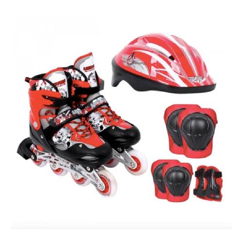 Giày trượt Patin 906 tặng kèm bộ bảo vệ - 4 màu Xanh, Đỏ, Đem ,Hồng