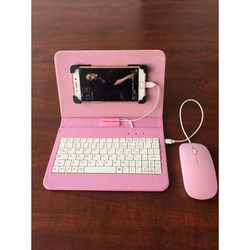 Bao da bàn phím kèm chuột  + lót chuột cho điện thoại, máy tính bảng