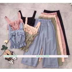 Set áo bèo 2 dây phối quần nhún