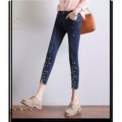 Quần jeans nữ 9 tấc thêu hoa lai sành điệu 45_60kg
