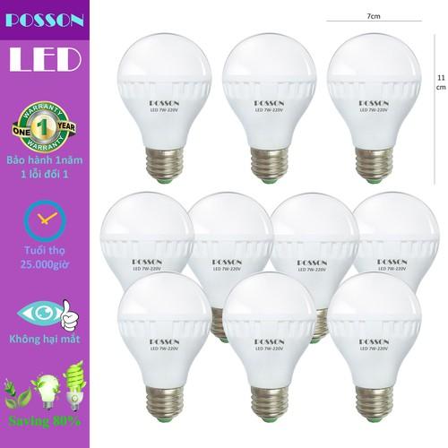 10 Bóng đèn Led 7w tiết kiệm điện sáng trắng-vàng nắng Posson LB-N7-7G