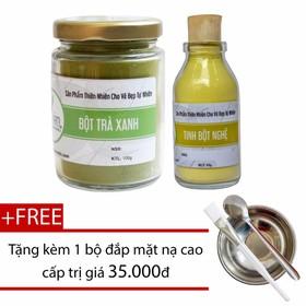 Combo Bột Trà Xanh 100g + Tinh Bột Nghệ 50g Nguyên Chất Bảo Nam - bottraxanhtinhbotnghela