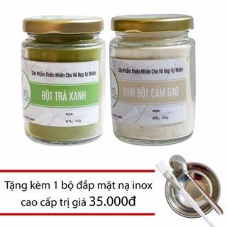 Combo Bột Trà Xanh 100g + Tinh Bột Cám Gạo 100g Nguyên Chất Bảo Nam + Tặng bộ đắp mặt - bottraxanhbotcamgaoaa thumbnail