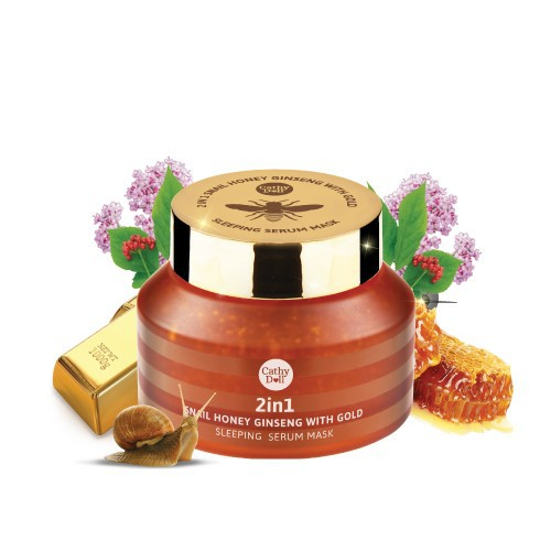 Mặt nạ ngủ vàng 2 in 1 snail honey ginseng with gold sleeping serum  mask cathy doll 70 gram
