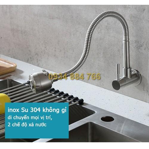 Vòi rửa bát, vòi rửa chén, vòi rửa bếp inox 304 gắn tường uốn cong