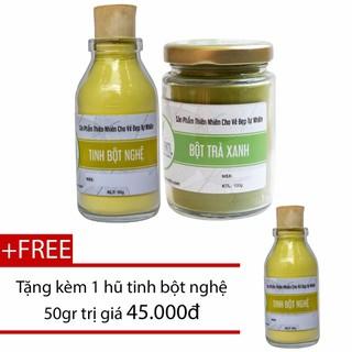 Bột Trà Xanh 100g + Tinh Bột Nghệ 50g Bảo Nam - Đắp Mặt Nạ - bottraxanhtinhbotnghellu thumbnail