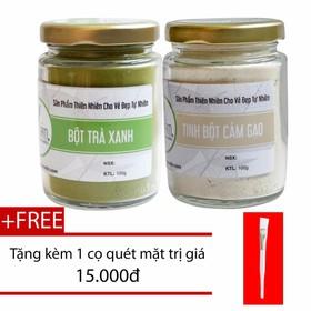 Combo Bột Trà Xanh 100g + Tinh Bột Cám Gạo 100g Nguyên Chất Bảo Nam - bottraxanhotcamgaokkmn