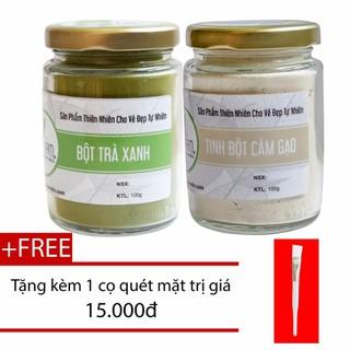 Combo Bột Trà Xanh 100g + Tinh Bột Cám Gạo 100g Nguyên Chất Bảo Nam - bottraxanhotcamgaokkmn thumbnail