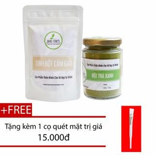 Combo Bột Trà Xanh 100g + Bột Cám Gạo 100g dạng túi - bottraxanhbotcamgaokkmnb thumbnail