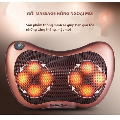 Gối massage hồng ngoại 8 bi loại 1