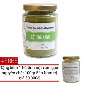 Bột trà xanh nguyên chất Bảo Nam + Tặng cám gạo 100gr - bottraxanhbotcamgaoô