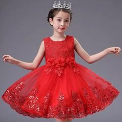 Đầm công chúa đi tiệc thêu hoa đính kim sa chân váy 2-7 tuổi