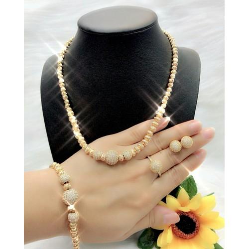 Bộ trang sức 4 món kiểu bi dát vàng 18k