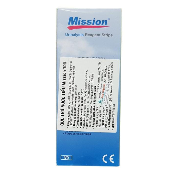 Que thử nước tiểu ACON Mission 10 thông số URS 10 hộp 100 test 2