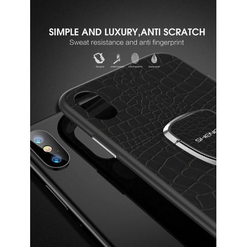 Ốp lưng silicon giả da shengo kèm iring iphone x