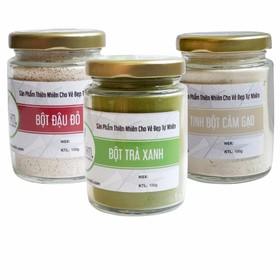 Combo Bột Trà Xanh+ Bột Đậu Đỏ + Tinh Bột Cám Gạo Nguyên Chất Bảo Nam - bottranhdaudocamgao